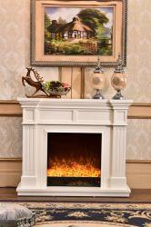 A cor branca sólidos de madeira clássico lareira elétrica usada para venda