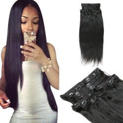 Nueva llegada 100% virgen Hair Clip Hair Extension Remy brasileño cabello humano.