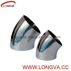 Les mesures sanitaires de coude de tuyau en acier inoxydable de coude de 45 degrés
