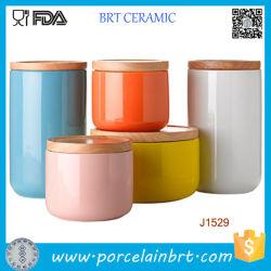 Contenitore contenitore in ceramica/contenitore per candle da stampa personalizzata con coperchio in bambù/ceramica