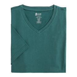 الجملة الصيف الكلاسيكية الملابس العادية الملابس الملابس الصلبة فارغة 100 ٪ القطن قميص ذو ياقة على شكل حرف V كبير