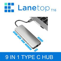 Концентратор USB Lanetop C ступицу несколькими USB 3.0 HDMI адаптер док-станция для MacBook Pro аксессуары USB-C Тип C 3.1 разветвитель 9 порта USB-концентратор