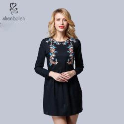 Hot Sell Europese Casual Borduurwerk Oneck Mini jurk