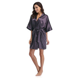 Мода женщин Satin сплошным цветом короткий Халат покроя кимоно
