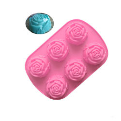 Muffe del silicone del sapone della muffa del cioccolato del gelato della torta del silicone del fiore della Rosa