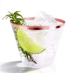 Fantastischer Wein für Hochzeitsfest Goldfelgen-Plastikcup 9 Unze-Rose