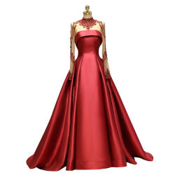 Шарик платье роскошный королевский стиль короля стиле суда поезд по шее длинной втулки банкетный платье партии платье Celebrity платья