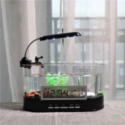 L'Aquarium Aquarium électronique de bureau multifonctionnel avec l'eau de l'exécution de la fonction horloge calendrier de la pompe de porte-stylet de lumière à LED