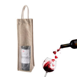 Eco-Friendly Decorações de Natal de embalagem garrafa de vinho de estopa bag bolsa sacola de juta com pega