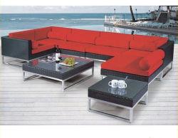 Все современные погоды сад PE плетеной угловой диван с красивыми подушечки открытый дворик плетеной алюминиевых отель стол и стулья мебель