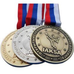 Kundenspezifische Silber-Sport-Spiel Iaska Metallandenken-Sport-Preis-Medaille des Gold3d mit buntem Farbband