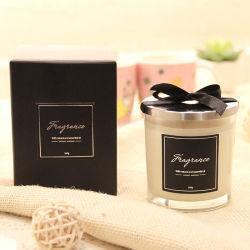 絹の印刷のステッカーが付いている200g曇らされたガラスの香料入りの蝋燭および100%の石蝋およびふた