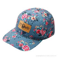 100%Cotton高品質の花の印刷の革パッチの野球帽