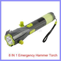 Compas multifonction 8 en 1 aimant Sos marteau de secours de la faucheuse de ceinture de sécurité de la flamme de la manivelle chargeur Dynamo Lampe torche à LED (1125A)