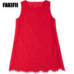 China-Fabrik kundenspezifische Baby-Abnützung-Kinder, die Sommer-Mädchen-rotes Spitze-Kleid-Form-Hochzeits-Kleid kleiden