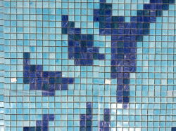 Flower Pattern Piscine Bali Style Blue Swimming Pool Tile Melting Glass Mosaic