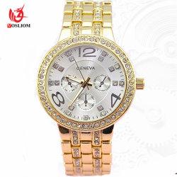 De gouden Vrouwen Watches#V881 van de Band van het Netwerk van de Legering van Genève van de Horloges van Mannen