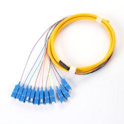 Fibras 12 Sc/UPC 9/125 Monomodo Bunch/óptico de fibra óptica en forma de espiral