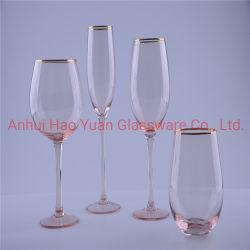 Cor-de-rosa a pulverização vinho e champanhe o copo de vidro com aro de Ouro