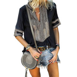 卸し売り女性の黒い肘の長さは前部刺繍のブラウスにスリーブを付ける