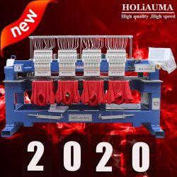 Più nuova Holiauma multi testa 4 di 2019 6 macchinario ad alta velocità del ricamo automatizzato 8 teste per il ricamo della maglietta della protezione piana con il più nuovo sistema di controllo di Dahao
