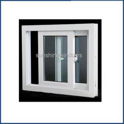 Белый цвет пластика 2 панелей двойных раздвижных окон с Flyscreen