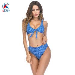 Micro van de Druk van de PUNT van de Zomer van de manier de Blauwe Bikini van 2 van het Stuk de Sexy van de Boog Dames van het Strand