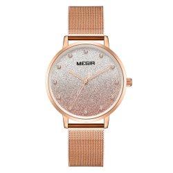 Nouveau design Megir cadeaux Fashion terne de gros diamants spécial Lady montre avec la bande en acier