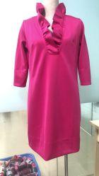 新式のひだの首3/4の袖dBジャージーの高品質の方法セクシーなパーティー向きのドレス
