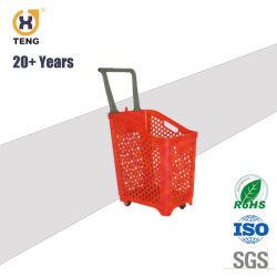 68L Gran Supermercado de gran tamaño de plástico de rodadura de la cesta