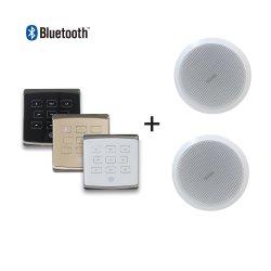 2 canais de áudio em casa PA 25W Sistema de música de fundo no amplificador montada na parede com 2 peças 6'' dos altifalantes de tecto e controlo remoto, suporte Bluetooth/USB/TF