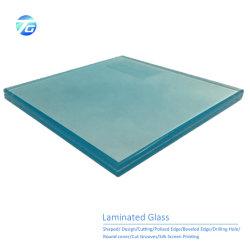 6.38mm 8.38mm borde claro Coloredtempered pulido/vidrio templado laminado de seguridad de la construcción de una ducha de vidrio pasamanos valla paneles de vidrio