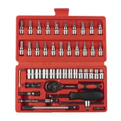 Hochwertige 46PCS / Set Hand Hardware Werkzeugsätze Auto Motor Reparatur Werkzeuge Kombination Ratschenschlüssel-Set für Auto-Werkzeuge Kit Box