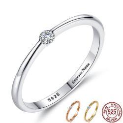 925 серебристые кольца для женщин Cute Циркон раунда геометрической 925 Silver свадебные кольца точной украшения минималистский подарок