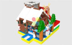 Neuer Entwurfs-aufblasbares Weihnachtsschnee-Mann-Prahler-Plättchen-Haus kombiniert