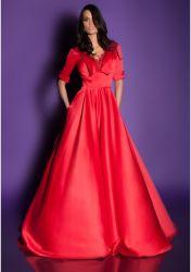 Satin Lace uma linha de lapela vestido de noite formal vestido de terceiros
