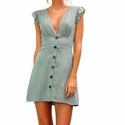 Women's Casual Mini robe col V volant manchon court Slim robes soirée de l'usure