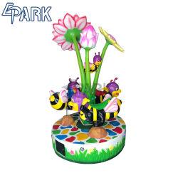 Amusement Park fleurs carrousel 3 sièges pour enfants Ride Machine de jeu