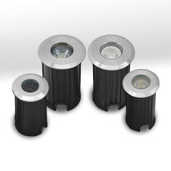 مصباح LED صغير تحت الأرض بجهد 12 فولت - 24 فولت وبقوة 1 وات مع مصباح LED InGround بقوة 3 وات