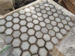 Mosaico naturale di Bianco Carrara per la decorazione interna dell'interno della parete del pavimento della cucina della stanza da bagno