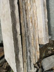 P014ベージュスレートの帽子の石塀の帽子の性質の石