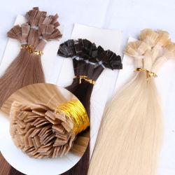 Comercio al por mayor la queratina del pelo de punta plana brasileño de extensión de cabello humano.