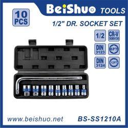 10 PCS 1/2'dr. Chave tipo L com caixa de plástico