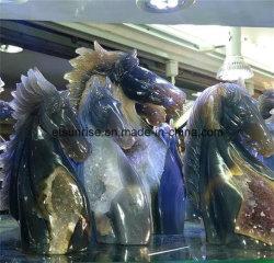 Het semi Hoofd van het Paard van de Geode van Drusy van het Agaat van de Edelsteen Natuurlijke Snijdende