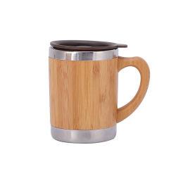 Bicchiere termico da 300 ml con tazza da caffè in acciaio inox Bamboo Shell sottovuoto Tazza da viaggio con maniglia