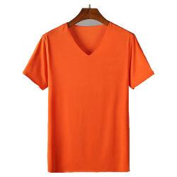 Usine deglace transparente de la soie à manches courtes Tee-shirt avec encolure en V
