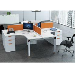 Bovenkant van de Lijst van de melamine 4 Bureau Seater met het Kabinet van 3 Lade