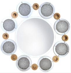 Sparkle aplastó a la Ronda de diamantes de espejo de pared decorativos para el hogar Hotel