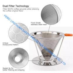 再使用可能なHoneycombedステンレス鋼のコーヒーのフィルターはコーヒーのフィルターの円錐形のコーヒーに注ぐ