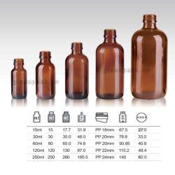 15ml, 30ml, 60ml, 120ml, bernsteinfarbige Glasflasche 250ml für Sirup